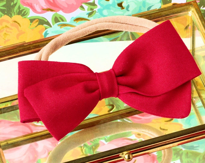 Raspberry Bow - Hair Bows and clips for Girls - Nylon Headbands