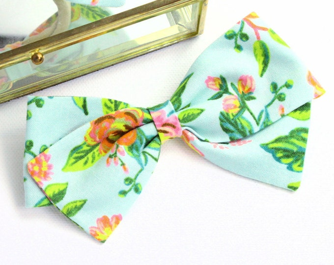 Rifle Paper Co Baby - Jardin De Paris Mint Bow - Fabric Hair Bows