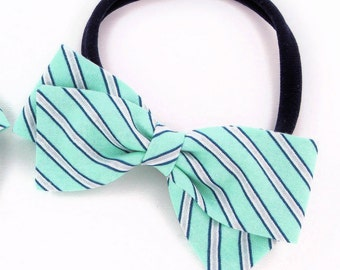 Mint Hair Bow - Stripe Hair Bow - Nylon Headband and Hair Clips for Girls