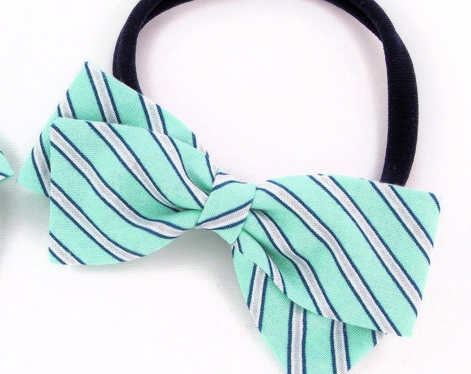 Mint Hair Bow - Stripe Hair Bow - Nylon Headband and Hair Clips for Girls