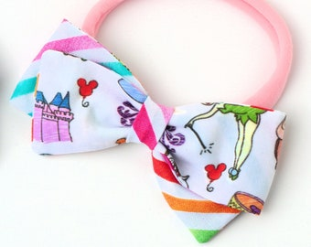 Disney Hair bows For Girls - Disneyland Bow - Nylon Headband or Clip