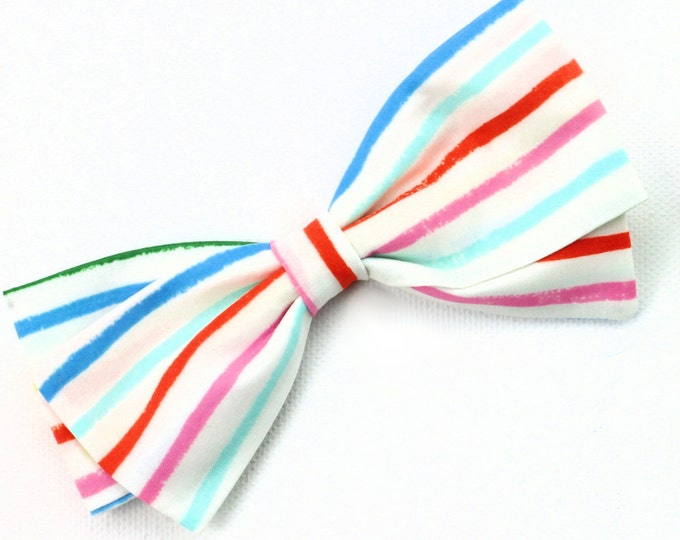 Multicolor Bow - Striped Hair Bows - Large and Small Hair Bows