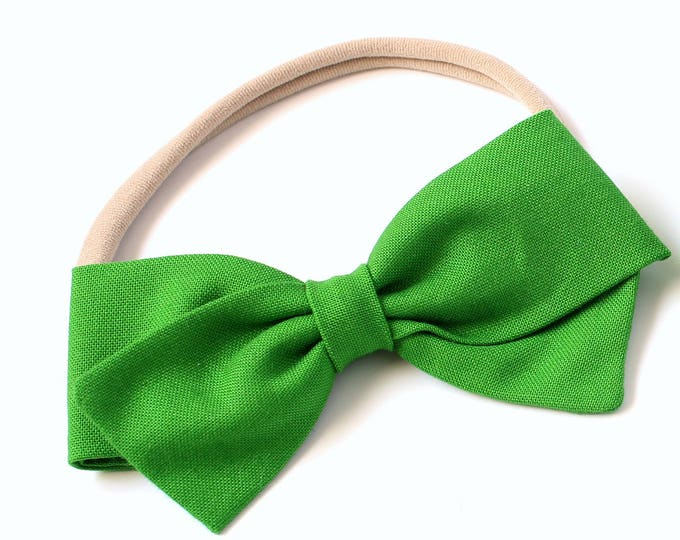 Green Hair Bow - Kelly Green - large Hair Bows - Hair Bows for Babies and Girls