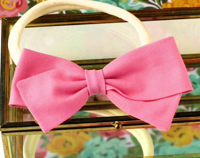 Pink Hair Bow, Girls fabric bow, toddler, baby shower - Cotton Candy