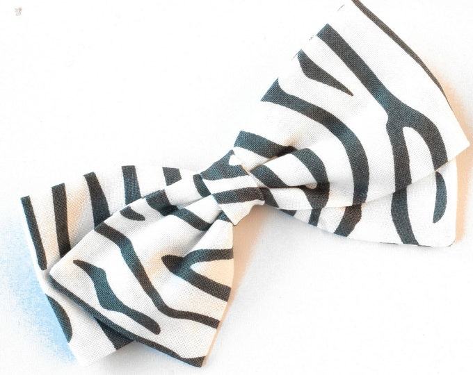 Zebra Hair Bow - Gray and white Bow - Nylon Headbands or Hair Clips for Girls