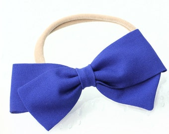 Periwinkle Hair Bow- Fabric Bow - Nylon headband or hair clips
