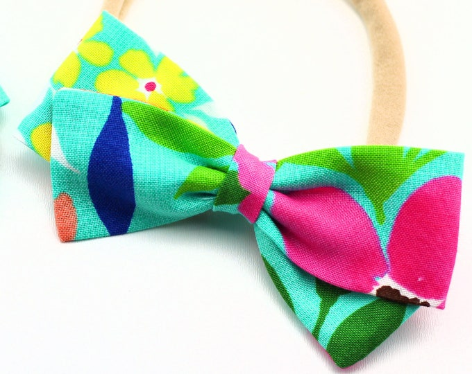 Summer Hair bows - Aloha Baby bow  for Babies and Girls - Nylon Headband, Barrettes, or clips