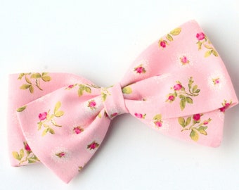 Pink Floral Bow - Fabric Hair Bows for Girls - Nylon Headbands or Hair Clips for Girls