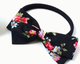 Black Floral Hair Bow - Nylon Headband for Babies - Hair Clips for Girls