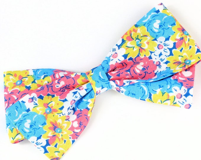 Floral Hair Bow - Pink, Blue, and Yellow hair bow for babies & Girls - Clip, Barrettes, or Nylon Headband