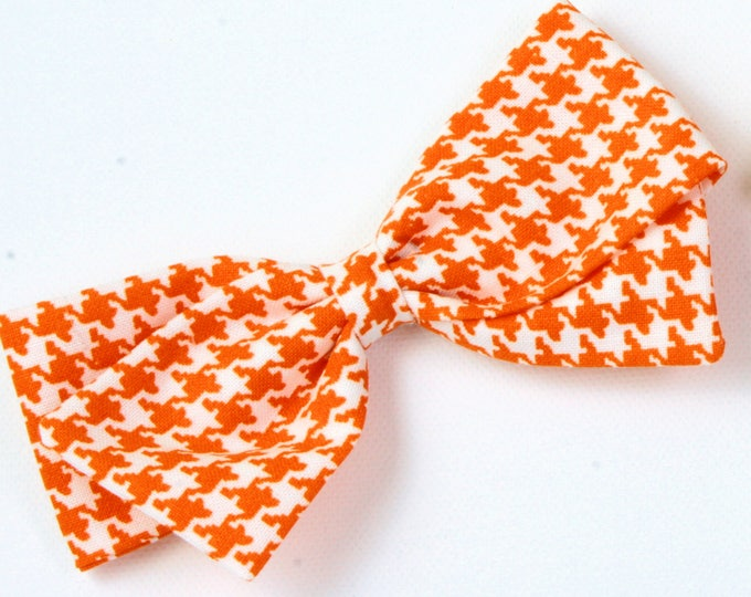 Houndstooth Hair Bow - Orange and White Bow - Halloween Hair Bow For Girls