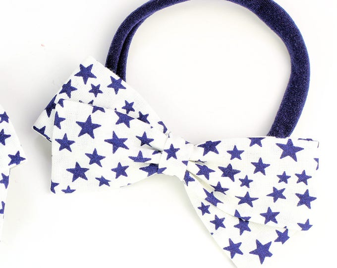 Fourth of July Hair Bow - Blue Star Bow For Baby and Girls  - Fabric Bow - Nylon Headbands and Clips for girls - SALE