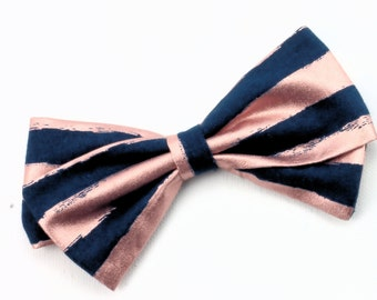Pink and Navy Bow - Metallic Hair Bow -  Nylon Headband and Hair Clips