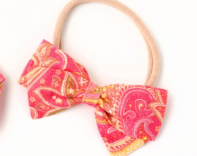 Pink Paisley Hair Bow - Fabric Hair Bows for Girls - Nylon Headbands or Hair Clips for Girls