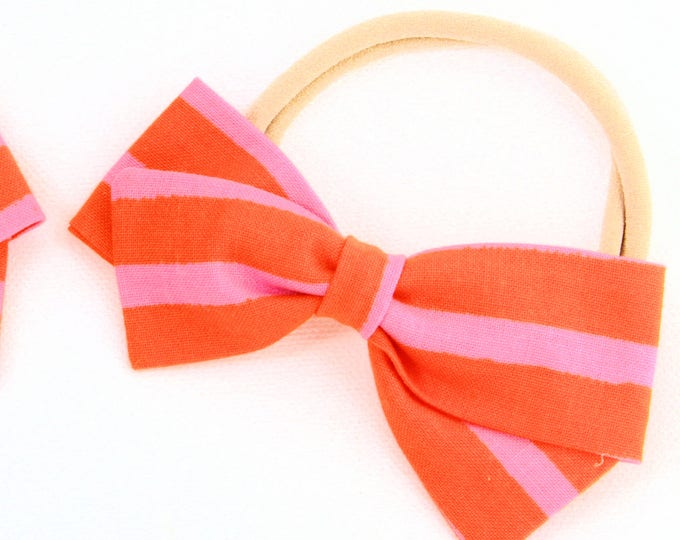 Cheshire Cat Bow - Orange and Pink Hair Bow For Girls -  Nylon Headband