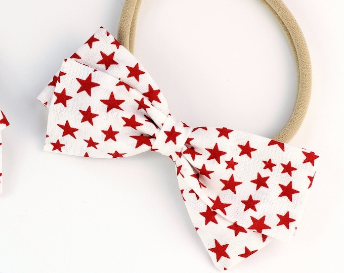 4th of July Hair Bow - Hair Bows for Girls - Red and White