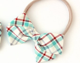 Plaid Hair Bow - Hand Tied Fabric Bow -  Baby blue red gray and cream.