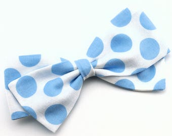 Blue and White Polka Dot Bow - Fabric Hair Bows for Girls - Nylon Headbands or Hair Clips for Girls