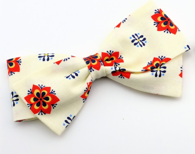 Girls Hair Bow - Cream hair bow with Rosettes Girls Fabric Bow -  Cream, Navy, Orange and yellow