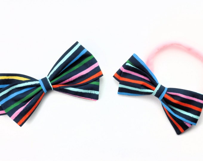 Multicolor Bow - Amalfi Happy Stripe Hair Bow - Striped Hair Bows - Large and Small Hair Bows