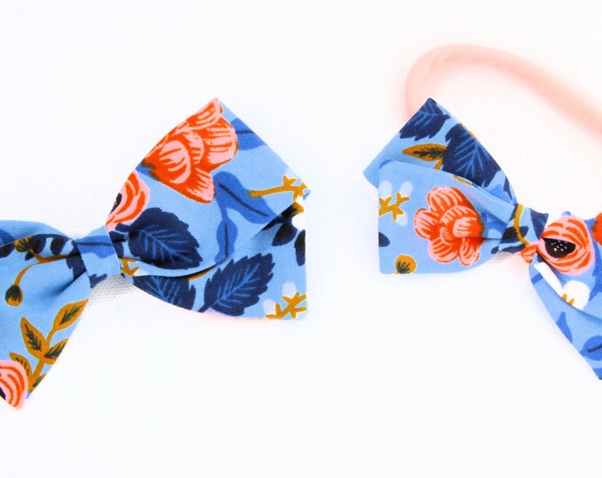Rifle Paper Co Bow - Les Fleurs Birch Periwinkle - Fabric Bows for Girls