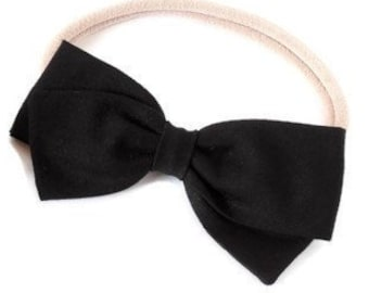 Black Hair Bow - Fabric hair bows for girls - Nylon Headbands for babies