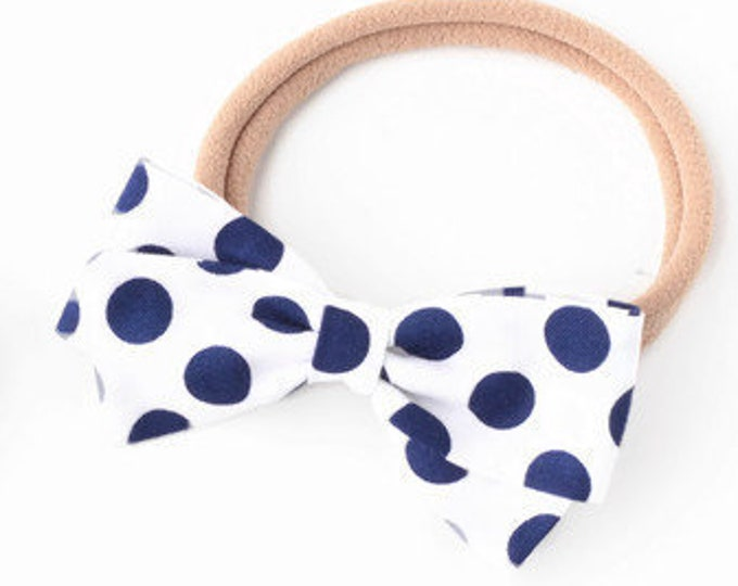 Navy Blue and White Bow - Fabric Hair Bows for Girls - Nylon Headbands or Hair Clips for Girls