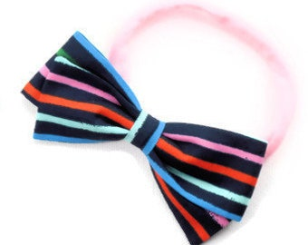 Rainbow Hair Bow - Striped Hair Bows - Large and Small Hair Bows