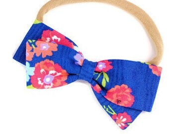 Blue Floral Bow - Cobalt Blue  - Beautiful hair bows for girls - Nylon headbands and alligator clip bows