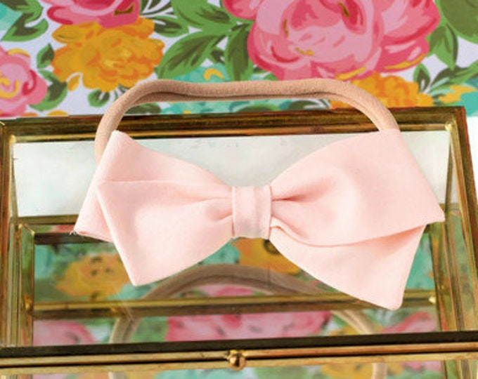 Blush Hair Bow - Hair Bows and clips for Girls - Nylon Headbands
