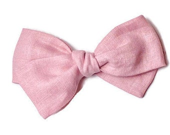 Pink Linen Bow - Pink Hair Bow - Pink Baby Bow