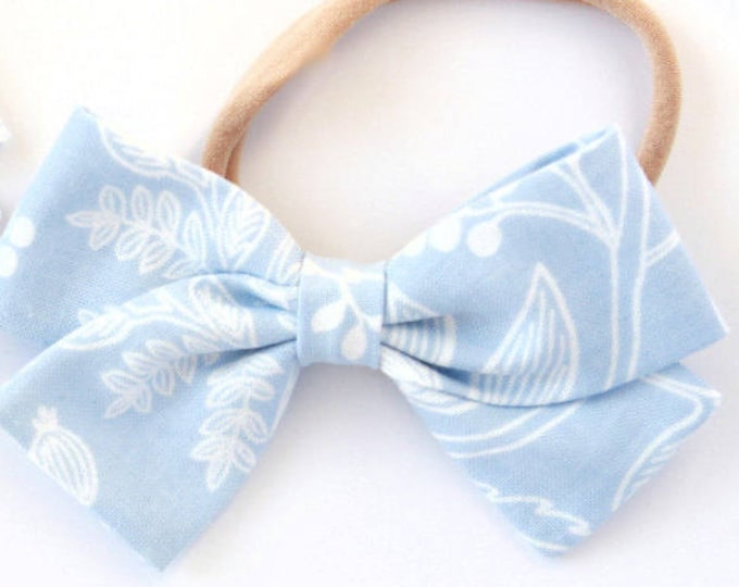 Pale Blue Bow - Rifle Paper Hair Bow for Girls - Les Fleurs