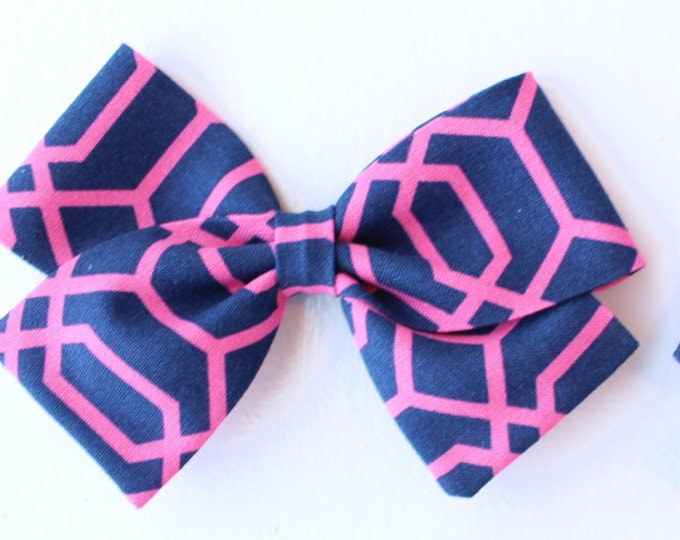 Pink and Blue Bow - Geometric Hair Bows for Girls - Alligator Clips and Nylon Headbands