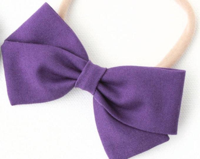 Baby Girl, Toddler, Girls Fabric Bow, Newborn, Hand tied bow- Deep Purple