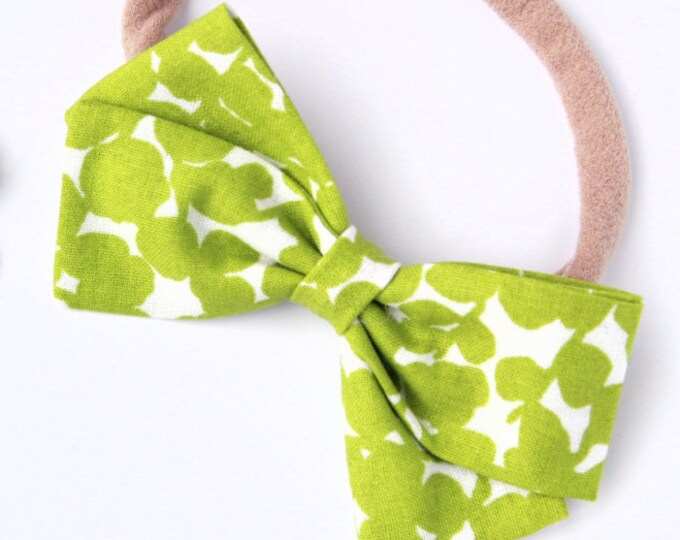 Green Leaf Hair Clip - Green Hair Bow -Nylon Headbands for Baby Girls