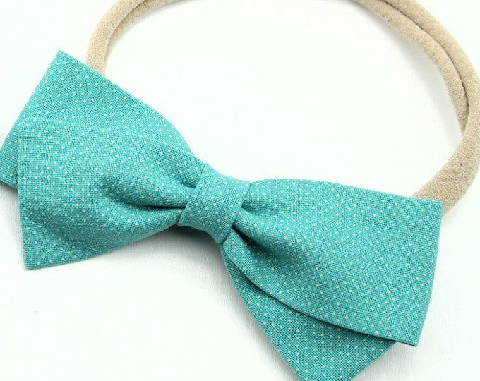 Baby bow, fabric bow, Teal Bow, Cream pin dot, toddler, baby girl, nylon headband or clip