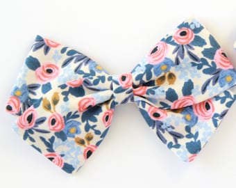 Baby Girl, Rifle Paper & Co.,  Les Fleurs -Rosa - Periwinkle, Fabric Bow