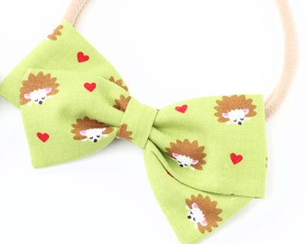 Hedgehog Bows - Hedgehog Baby - Heart Hair Bow
