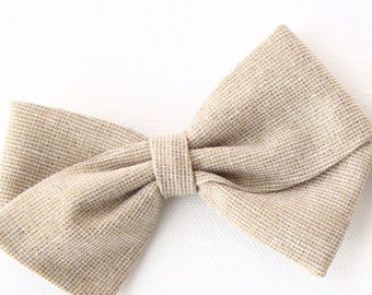 Gold Hair Bow - Fabric Hair Bow for Girls and Babies - Nylon Headband or Hair Clips