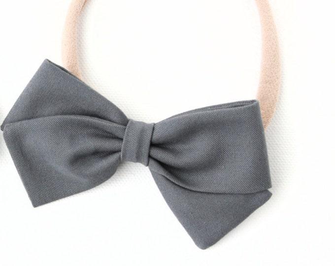 Gray Hair Bow - Hair Bows for Girls - Hair Clips or Baby Headbands