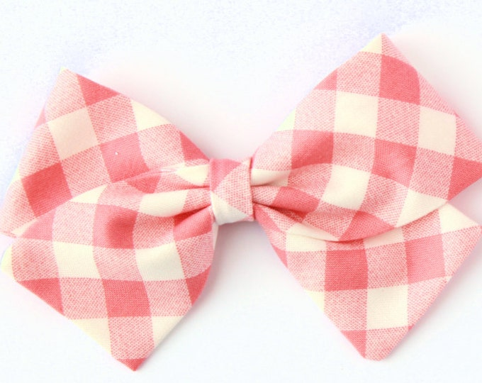 Coral gingham bow, toddler, baby girl, fabric bow, nylon headband or clip
