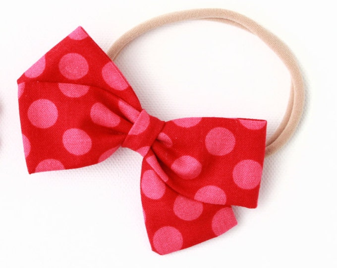 Polka Dot Hair Bow - Red With Pink Polka Dots - Baby Headband and Large Bows