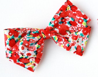 Bow Sale - Red Flower Blossom Bow - Nylon Headband or Clip