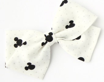 Disney Fabric Bows - White and Black Mickey Mouse Hair Bow - Nylon Headbands Infant and Hair Clips For Girls