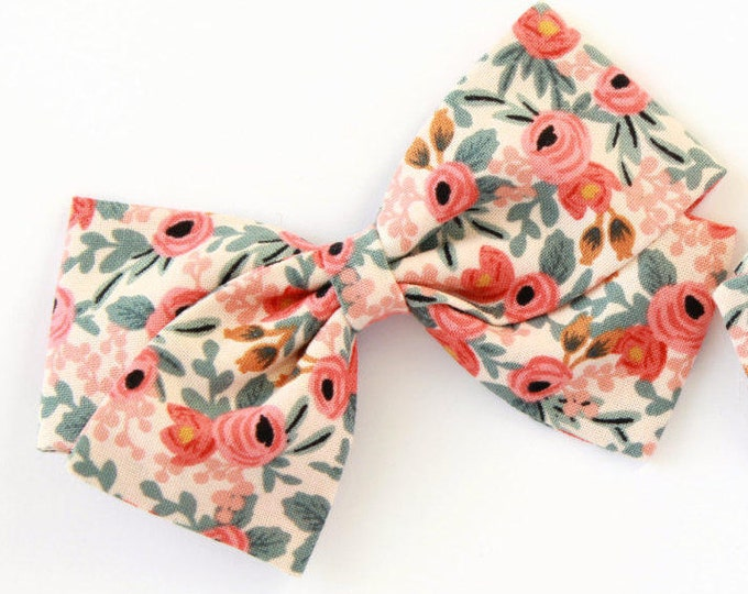 Rifle Paper Bow - Rosa Peach Hair Bow For Girls - Nylon Headband or Hair Clips