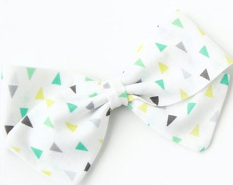 Fabric Bows For Girls - Triangle Hair Bow - White Gray Aqua and Green Bow - Nylon headband or Hair Clip