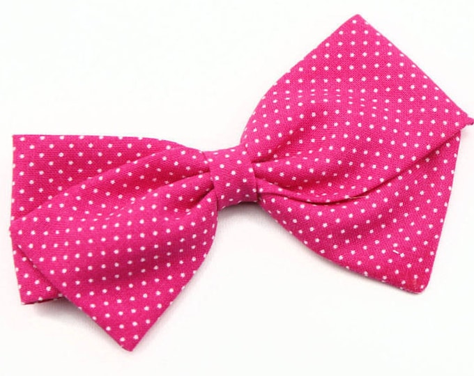 Hot Pink Baby Bow - Nylon Headbands and Hair Clips for Girls - Polka Dot Bow