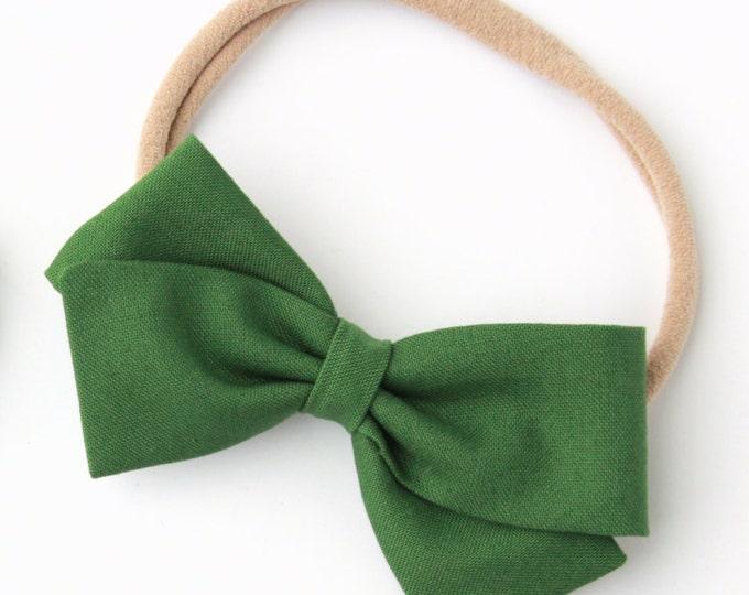 Hunter Green Hair Bows - Fabric Bows on Nylon Headbands and Clips - Small and Large Bows
