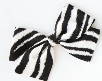 Animal Print Hair Bow - Zebra Hair Bow for girls - Nylon Headbands and Clips for Babies