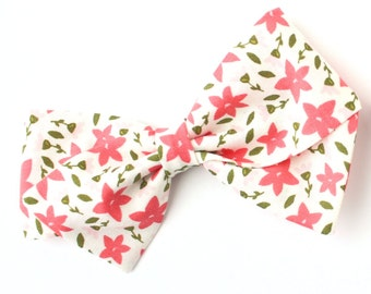 Hair Bows Flower - Coral Flowers - Nylon Baby Headband and Alligator Hair Clip